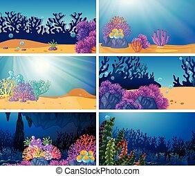 podwodny, komplet, scena