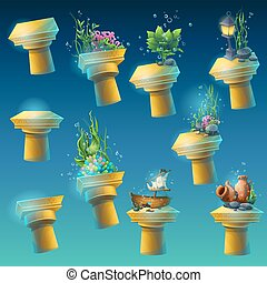 podwodny, komplet, starożytny, kolumny, cielna
