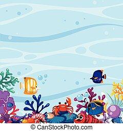 podwodny, koral, fish, scena, tło