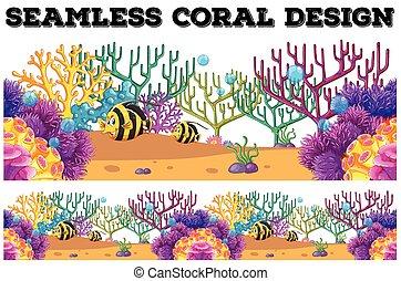 podwodny, koral, fish, seamless, rafa