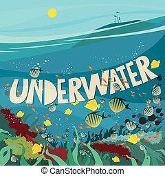 podwodny, koralikowa rafa, świat