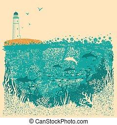 podwodny, latarnia morska, stary, morze, struktura, papier, tło, fale