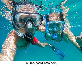 podwodny, miłość, selfie, wpływy, para, snorkeling