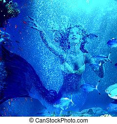 podwodny, nurkować, przez, koral, syrena
