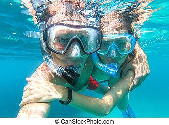 podwodny, para, snorkeling, prospekt morza