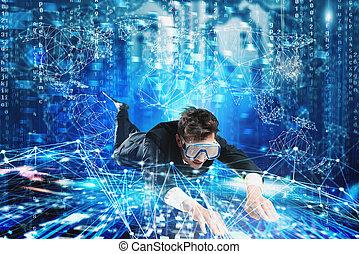 podwodny, pojęcie, surfing, mask., badanie, internet, biznesmen