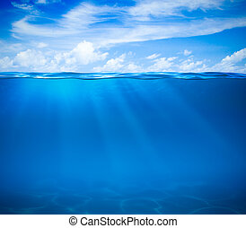 podwodny, powierzchnia, ocean polewają, morze, albo