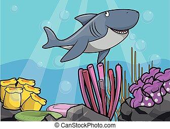 podwodny, rekin, scena