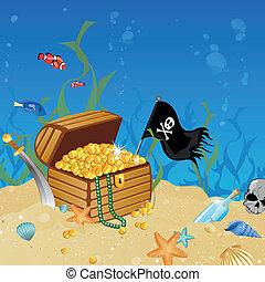 podwodny, skrzynia, skarb