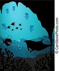 podwodny, sylwetka, scena, morskie stworzenia