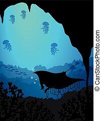podwodny, sylwetka, scena, stingray