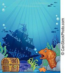 podwodny, temat, ocean, tło, 6