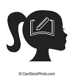 podzemní chodba profil, lidský, s, školství, ikona