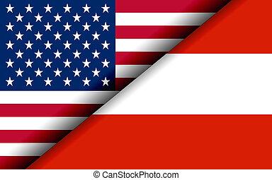 podzielony, diagonalno, usa, austria, bandery