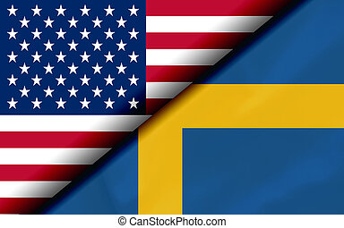 podzielony, diagonalno, usa, szwecja, bandery