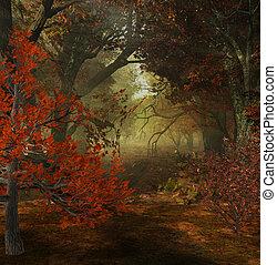 podzim, dřevo