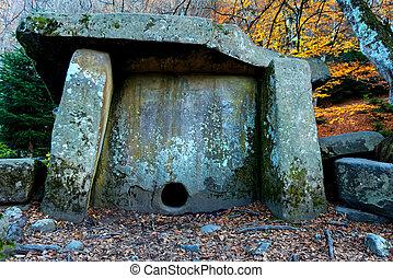 podzim, dolmen, kámen, starobylý, les