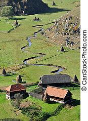podzim, hory, malý, krajina, vesnice