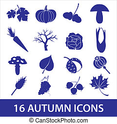 podzim, ikona, eps10