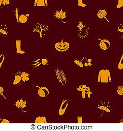 podzim, ikona, pomeranč, seamless, model, eps10