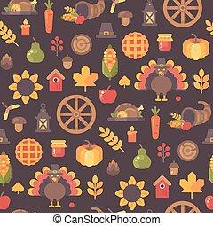 podzim, ikona, seamless, pattern., díkůvzdání, grafické pozadí, byt, ilustrace