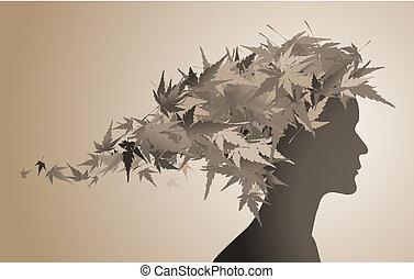 podzim, květinový, děvče, silueta