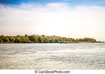 podzim, přepravit, řeka krajinomalba