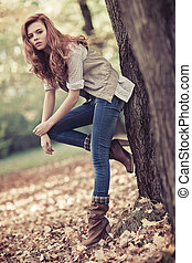 podzim, portrét, manželka, nepatrný, mládě