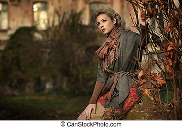 podzim, scenérie, a, blond, kráska