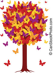 podzim, strom, s, motýl, list