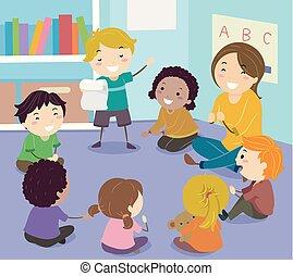 poesia, bambini, stickman, leggere, illustrazione, classe