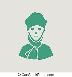 Poet icon. Gray background with green. Vector illustration.