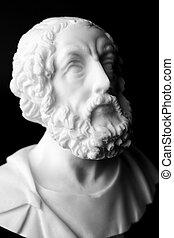 "poet., marbre, iliad, buste, ""homeric, epics""., connu, homer..."