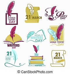 Poetry and writers day isolated icon feather and book