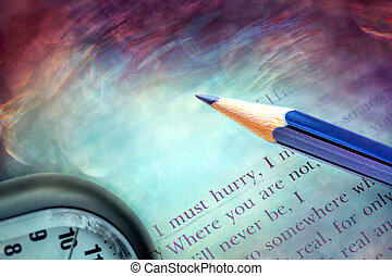 Poetry lines, pencil and clock - Poetry book and clock -...
