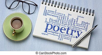 poetry word cloud in a sketchbook - banner