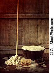 poetsen, dweilen en emmer aan, met, nat, zeepachtig, vloer
