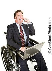pogawędka, biznesmen, niepełnosprawny, -, sympatyczny