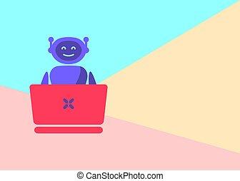 pogawędka, laptop, bot, różowy, pastelowe tło, błękitny, ...