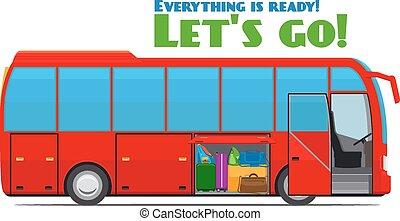 poggyász, alatt, természetjáró, autóbusz