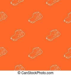 poggyász, autó, dobozok, vektor, motívum, narancs
