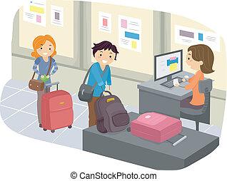 poggyász, bejelentkezés, -ban, repülőtér