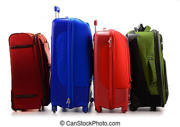 poggyász, consisting, közül, nagy, bőrönd, elszigetelt,...