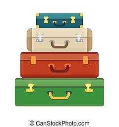 poggyász, poggyász, bőrönd, képben látható, háttér.