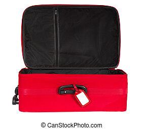 poggyász, poggyász, utazás, elszigetelt, táska, piros háttér, bőrönd, fehér, nyílik, felett, üres, címke