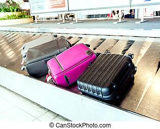 poggyász, repülőtér, öv, kézbesítő