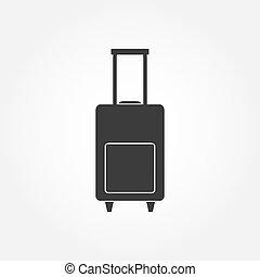 poggyász, táska, ikon, vektor