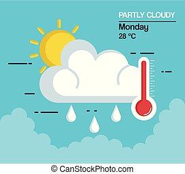 pogoda, częściowo pochmurny, ikona