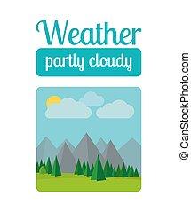 pogoda, częściowo pochmurny, ilustracja