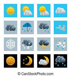 pogoda, ikony, komplet